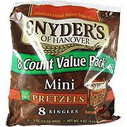 Mini Pretzels Value Pack - 8 singles,(Snyder's Of Hanover) by Snyder's Of Hanover. $3.00. Mini Pretzels Value Pack - 8 singles,(Snyder's Of Hanover. Old-fashioned pretzel flavor in a bite-sized twist? A great-tasting snack for health-conscious people.  ? Fat-free pretzels for a satisfying snack.