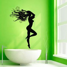 Floral Hair Wall Decals Nude Girl Hot Model Hairdressing Beauty Salon Spa Bathroom Home Vinyl Decal Sticker Bath Art Mural Wall Decor Welcome