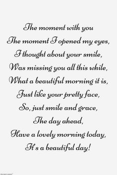 Looking for romantic good morning poems for her to compliments her by a beautiful poem and surprise your girlfriend or wife with this sweet lines. Morning Poem For Her, Good Morning For Him, Good Morning Quotes For Him, Morning Love, Good Morning Greetings, Cute Love Poems, Love Poem For Her, Beautiful Love Quotes, Love Quotes For Her