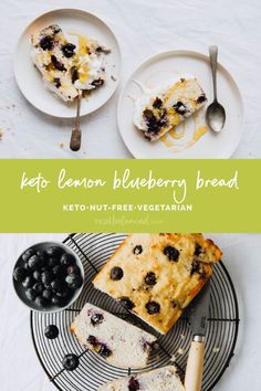 This easy-to-make nut-free and keto Lemon Blueberry Bread is free from almond flour and the resulting loaf is fluffy and bursting with fresh blueberry and lemon flavor. In just over 1 hour, you can prep, bake, and serve this tasty baked good! Serve at weekend brunch or alongside a cup of hot coffee or tea for a delicious small meal to start off your day on the right foot. #realbalancedblog #ketodessert #lowcarbdessert #nutfreedessert Best Low Carb Bread, Lowest Carb Bread Recipe, Keto Bread, Lime Recipes, Tart Recipes, Baking Recipes, Kitchen Recipes, Bread Recipes, Low Carb Vegetarian Recipes