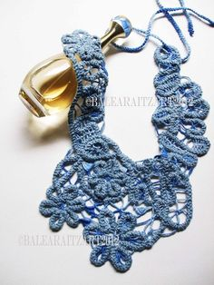 Blue Lace Jewellery Collar Bib  by GreenWindowtotheSoul on Etsy, $89.99