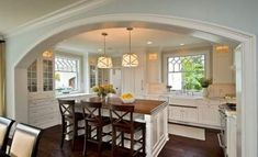 Unique Kitchen Lighting Design in Your House: Interesting Traditional Kitchen Lighting Design With Beige Shade Color Style For Home Inspirat. New Kitchen, Kitchen Decor, Kitchen Ideas, Cozy Kitchen, Kitchen Photos, Kitchen Layout, Awesome Kitchen, Compact Kitchen, Kitchen Dining