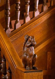 Absolutely love this newel post finial -- (via Austin Patterson Disston Architects Black Squirrel, Cute Squirrel, Squirrels, Secret Squirrel, Black Jaguar, African Elephant, Animal Photography, Wildlife Photography, Acorn
