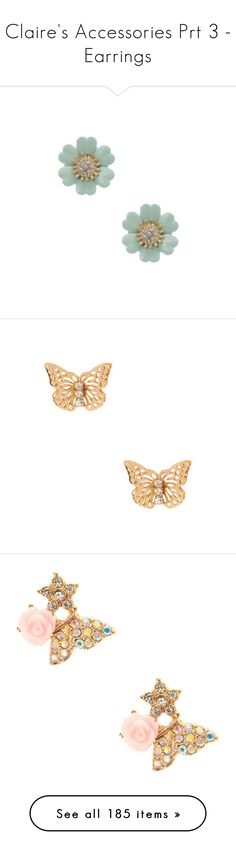"""""""Claire's Accessories Prt 3 - Earrings"""" by atomik-concia ❤ liked on Polyvore featuring text, jewelry, earrings, daisy stud earrings, stud earrings, mint stud earrings, claires jewelry, mint jewelry, butterfly earrings and monarch butterfly jewelry"""