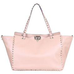 Valentino Garavani Rockstud leather tote ($2,227) ❤ liked on Polyvore featuring bags, handbags, tote bags, pink, leather handbag tote, leather tote bags, pink purse, tote handbags and leather tote purse
