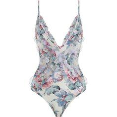 ZIMMERMANN Jasper Ruffle One Piece Swimsuit (395 CAD) ❤ liked on Polyvore featuring swimwear, one-piece swimsuits, swimsuit, swim suits, one piece swim suit, floral swimsuit, floral one-piece swimwear and mesh swimsuit