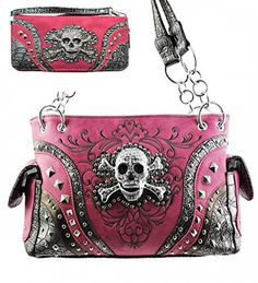 Pink Skull Studded Conceal and Carry Purse W Matching Wallet - Handbags, Bling & More!