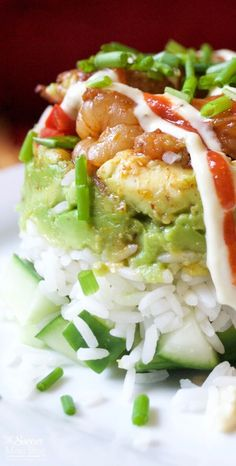 Shrimp Stacks This is one of those recipes that will really WOW 'em! These Baja Shrimp Stacks…This is one of those recipes that will really WOW 'em! These Baja Shrimp Stacks… Sushi Recipes, Asian Recipes, Cooking Recipes, Healthy Recipes, Free Recipes, Shellfish Recipes, Seafood Recipes, Appetizer Recipes, Health Foods