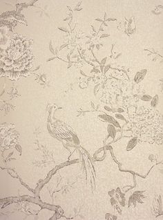 Oriental Bird Wallpaper £59 per roll. Calming colours with bird and branch design  in ivory on metallic (grey) stone.