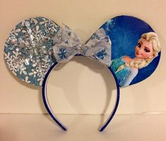 "Elsa ""Frozen"" Custom Mickey Mouse ears on my favorte Etsy store.  https://www.etsy.com/listing/214536469/custom-mickey-mouse-ears?ref=listing-shop-header-3"