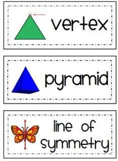 24 geometry word wall words for primary grades.