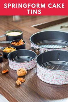 SPRINGFORM CAKE TINS: Set of 3 ( 8.6 inch; 7 inch; 4.7 inch ); round shape; food grade BPA free and PEOA free; made of premium carbon steel and reinforced coating; 100% safe; removable bottom, easy to make and clean; perfect for creating a double-tiered or three-layers wedding cake, birthday cake or a cake for any other occasion. #ad #bakeware Kitchen Items, Kitchen Gadgets, Easy Desserts, Dessert Recipes, Cooking Tips, Cooking Recipes, Springform Cake Tin, Cake Baking Pans, Summer Drink Recipes