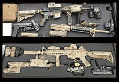 Tools of the trade; A Navy SEAL's weapon case Tactical Life, Tactical Gear, Tactical Wall, Military Gear, Military Weapons, Military Jokes, M4 Airsoft, My Champion, Gun Cases