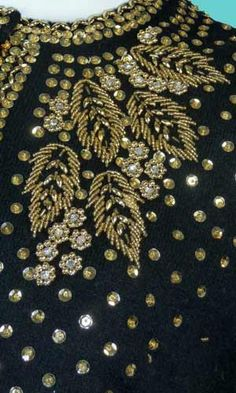 Details of a vintage hand beaded sweater Zardozi Embroidery, Pearl Embroidery, Tambour Embroidery, Couture Embroidery, Embroidery Fashion, Embroidery Stitches, Embroidery Patterns, Bordados Tambour, Tambour Beading
