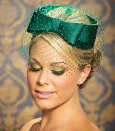 Emerald Green Bridal Hat Vintage Veil Hat Bow Hat Birdcage Veil Mother of the Bride Cocktail Hat Fascinator - BETH. $72.00, via Etsy.