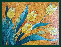 20 Eggshell Mosaic Art To Inspire The Artist In You - #15 CONSTRUCT A DESIGN OF TULIPS BLOWING IN THE WIND