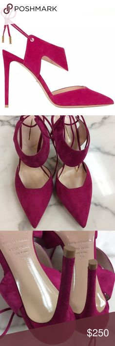 Nicholas Kirkwood Pink Lace up Pointed-Toe Pumps Nicholas Kirkwood 'Leda' Pink Suede Lace Up Pointed-Toe Pumps Dust bag included, Black line through label required to prevent store returns. 
