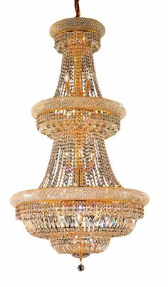 Elegant Lighting - 1803 Primo Collection Large Hanging Fixture D30in H56in Lt:32 Gold. This classic, elegant Empire series is flowing with symmetry creating a dramatic explosion of brilliance. Primo is a dynamic collection of chandeliers that add decorative drama to any setting.Specifications:  Style Transitional   Collection Primo    Chain/Wire Included  5 ft.    Light Blubs  32    Bulb Type  E12    Bulb Wattage  40    Max Wattage  1280    Voltage  110V-125V   Finish Gold    Crystal Trim…