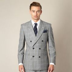 Hammond & Co. by Patrick Grant Grey prince of wales check tailored fit double breasted jacket- at Debenhams.com