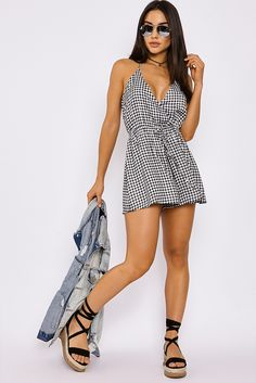 KOLBY BLACK GINGHAM WRAP FRONT HALTERNECK PLAYSUIT