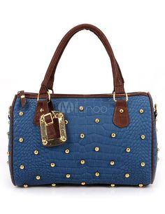 Azul Royal Studded sacola PU couro Chic feminino - Milanoo.com