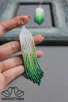 Green fringe earrings Beaded earrings Long earrings Native