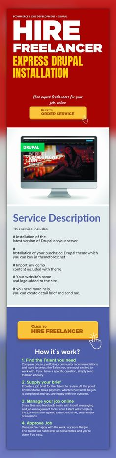 Express Drupal Installation Ecommerce & CMS Development, Drupal   This service includes:    # Installation of the latest version of Drupal on your server.    # Installation of your purchased Drupal theme which you can buy in themeforest.net    # Import any demo content included with theme    # Your website's name and logo added to the site    If you need more help, you can create detail brief and ...