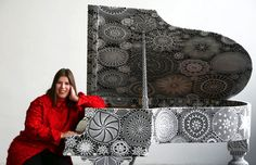 This is an all covered piano with hand made Portuguese crochet. This piece required a big amount of time and meticulous skills of craftsmans...