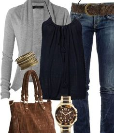 Early spring outfit (take away grey cardigan and add yellow, mint, red for summer)
