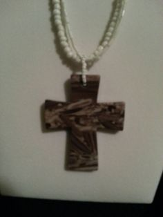Brown cross with white beaded necklace by AccentsbySamantha, $18.00