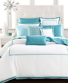 Beautiful bedroom design with a coastal look. Hotel Collection Embroidered Frame Bedding Collection, Only at Macy's - Bedding Collections. Turquoise Bedding, Aqua Bedding, White Bedding, Modern Bedding, Turquoise Bedroom Decor, Colorful Bedding, Boho Bedding, Aqua Bedrooms, Girl Bedrooms