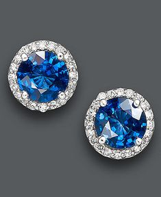 Something Blue :)    Effy Collection 14k White Gold Earrings, Sapphire (2 ct. t.w.) and Diamond (1/5 ct. t.w.)