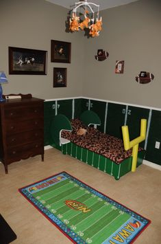 Football Themed Bedroom Impressive Create A Unique Chair Rail Effect With Yard Lines Masked Out With Design Decoration