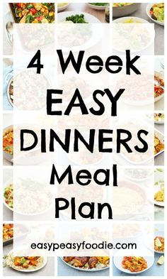 FREE 4 WEEK EASY DINNERS MEAL PLAN!! No more last minute dashes to the shops, no more dinner stress – it's right there on the plan! And no more spending hours writing a shopping list, dithering in the supermarket or stressing over your online shop either – because I've done all the work for you! Yep that's right. 4 easy to use shopping lists, one for each week! #mealplan #freegift #easydinners #shoppinglists #4weekmealplan
