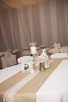 Burlap and lace LDS wedding reception in a cultural hall. I like the table runn wedding reception Reception Table, Wedding Reception Decorations, Wedding Centerpieces, Wedding Table, Trendy Wedding, Fall Wedding, Our Wedding, Dream Wedding, Wedding Ideas