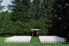 Simple Outdoor Wedding Set Up Toronto - Gina Humilde Events Canadian Wedding Venues, Wedding Venues Ontario, Toronto Wedding, Outdoor Ceremony, Wedding Ceremony, Purple Trees, Wedding Set Up, Tree Photography, Island Weddings