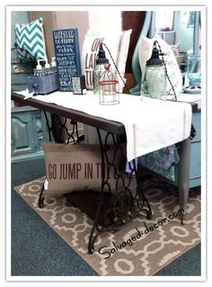 Entry table from old Singer sewing machine base. Top stained in MMS Milk Paint curio. www.facebook.com/salvageddecor