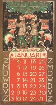 ¤ 1931-01 RUETER, Georg, (Wilhelm Christiaan Georg), 1875-1966 (illustrator). 1 calendar, 12 leaves : ill. (col.) ; 43 x 23 cm. Senefelder (Firm)