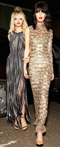 Tom Ford Resort 2016 Couture - full length fringed monochrome gown & a metallic gold one sleeve high neck gown #irocktomford...x