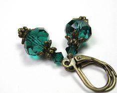 ★ Glamorous Green ★ Teal Green Vintage Style Earrings, Czech Glass and Swarovski Crystal Dangle Earrings https://www.facebook.com/celine.marcoz.3/posts/1553633744915418