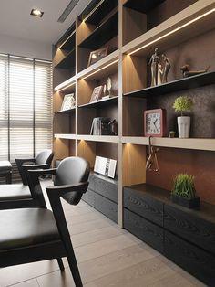 作品欣賞-國聚品苑 汪公館::子境空間設計:: Home Library Design, Office Interior Design, Office Interiors, House Design, Flur Design, Muebles Living, Bookshelf Design, Office Bookshelves, Home Office Space