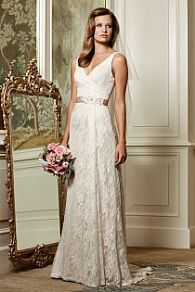 wedding dress with lace and waist belt