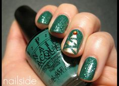Paint your nail a sparkly green color. Use Tape to make criss crosses in a christmas tree shape. paint gold over nail. remove tape and add an embellishment.