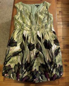 NWT Perceptions size 20W green purple floral sleeveless party formal dress  #Perceptions #BallGownEmpireWaistTeaDress #Cocktail