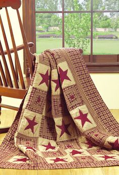 Vintage Star Burgundy Quilted Throw
