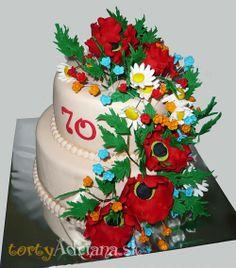 Kvietkované torty » Torta Kvety na 70tku