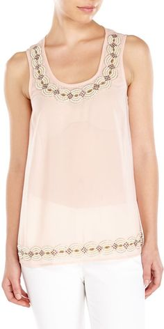 Pin for Later: Let Kate Beckinsale Show You the Sweet and Sexy Way to Wear White  Philosophy Beaded Chiffon Tank ($58)