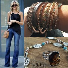 Arm Party #pdstyles www.Rose.mypremierdesigns.com ROSIE bangles, BE JOYFUL leather bracelet, POP OF POSH wrap bracelet, CALICO bracelet, WILLOW necklace, CORNERSTONE ring.