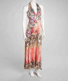 Take a look at this Peach Embellished Halter Maxi Dress on zulily today!