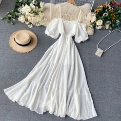 Lucuna Off-Shoulder Short-Sleeve Midi A-Line Dress Cute Casual Outfits, Pretty Outfits, Pretty Dresses, Stylish Outfits, Beautiful Dresses, Casual Dresses, Summer Dresses, A Line Dresses, Teen Fashion Outfits